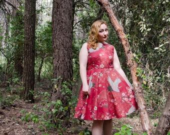 Boatneck Retro Dress, Asian Crane Print 50s, Sleeveless Rockabilly Full Skirt Dress with Pockets
