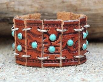 Leather Belt Cuff Bracelet, Brown and Turquoise Leather Bracelet, Repurposed Leather Belt, Leather Bracelet, Leather Cuff, Leather Belt