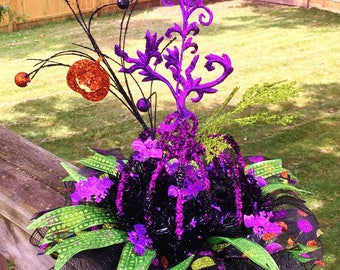 SALE - Purple Black Pumpkin - Fall Halloween Centerpiece