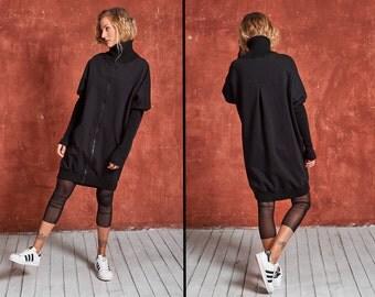 Black Cardigan, High Collar Jacket, Plus Size Jacket, Goth Jacket, Long Jacket, Steampunk Jacket, Autumn Jacket, Black Womens Cardigan