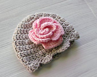 Baby Flower Hat, Crochet Baby Hat, Gray and Pink Baby Hat, Baby Girl Hat, Baby Girl Beanie, Newborn Baby Girl Shower Gift, Baby Photo Prop