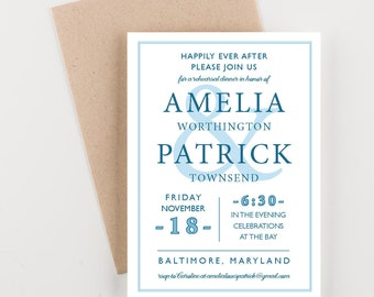 Rehearsal Dinner Invitation, Ampersand Billboard Design, Rehearsal Dinner Invites, Wedding Dinner Invitation, Happily Ever After