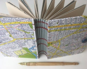 Small NYC Journal, Coptic stitched journal with New York map and fine art papers