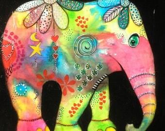 Hippie Elephant III-Nursery decor, Wall decor, Original Painting