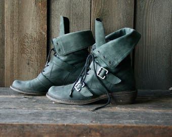 Leather Ankle Boots With Buckles Womens US Size 7.5 M Gray Blue 1980s Vintage From Nowvintage on Etsy