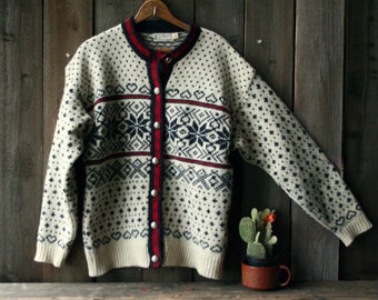 Cardigan Wool Sweater LLBean SnowFlakes Off White Navy and Red Womens Large Vintage 80s From Nowvintage on Etsy