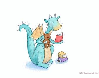 Cirro Reads a Bedtime Story - Blue Dragon Art - Art Print