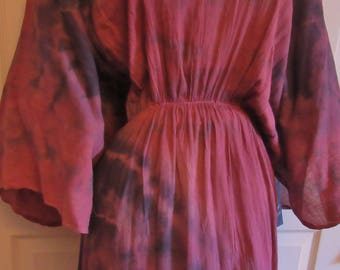 Beautiful summer cotton Hand Dyed maxi dress with raglan sleeves,  One Size