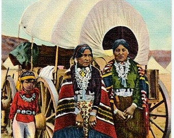 Native American Vintage Postcard - Navajo Women by their Covered Wagon (Unused)