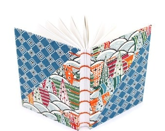 Colorful Blank Journal with Japanese Katazome Paper - handmade by Ruth Bleakley