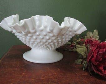 Fenton Milk Glass Pedestal Bowl 10 inch Hobnail