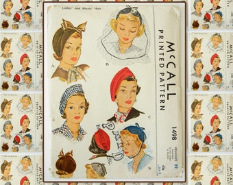 McCall Vintage 1940's McCalls hat pattern 1498 head size 22 from 1949
