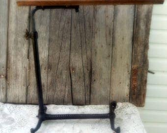 Antique Wood Top Cast Iron Writing Drafting Typwriter Stand Table on Wheels