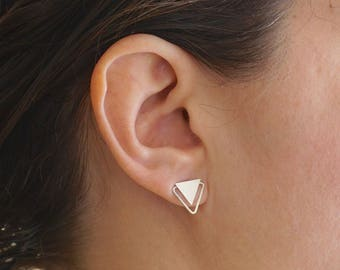 11mm Triangle Stud Earrings Double Triangle Earrings Geometric Stud Earrings Silver Triangle post earrings 0279