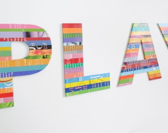 PLAY colorful letters made with recycled magazines- bright colors, unique, nursery decoration, play room, bold, wall decor, interior design