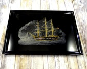 Vintage Couroc Tray of The USS Constitution at Boston Harbor