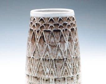 Cloudy White Ceramic Vase / Clay Vessel / Beautiful Caddy