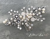 Antique Silver Wedding Hair Accessory, Boho  Hair Comb,  Gold, Silver, Rose Gold, Antique Gold, Antique Silver - 'ZARA'