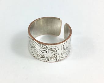 Size 6 Ring, Silver Ring, Wrap Ring, Adjustable Ring, Wife Gift, Mother Ring, Art Nouveau Ring, Spoon Ring, Wide Band Ring, Copper Ring
