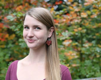 Leaf Earrings in Red Cedar- Larger- Wooden Earrings- - Natural Wood Jewelry- Eco Earrings