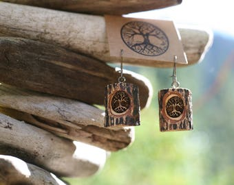 Trees in Sassafras- Earrings- - Natural Wood Jewelry- Eco Earrings