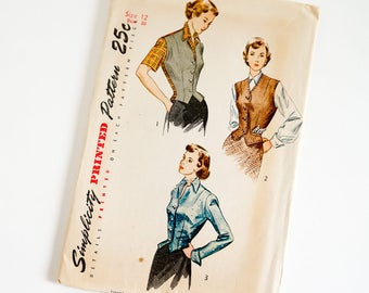 Vintage 1940s Womens Size 12 Weskit and Jacket Simplicity Sewing Pattern 2962 Complete / b30  w25