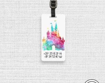 Luggage Tag Cinderella Princess Castle Custom Watercolor Luggage Tag with Custom Info On Back  Single Tag
