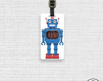 Luggage Tag Robot Name or Monogram on Front, Printed Personalization Address on Back Single tag Blue Red Robot