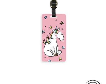 Luggage Tag Pink Unicorn Luggage Tag - Single Tag