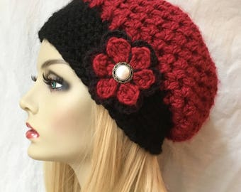 Red Womens Hat, Crochet Beret, Holiday Hat, Chunky, Warm, Teens, Holiday gifts under 40, Birthday Gifts for Her JE467BTF9