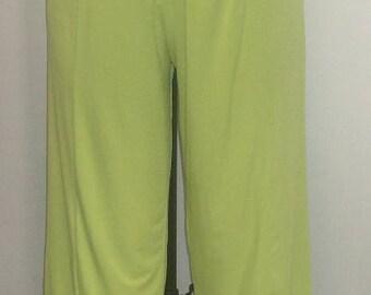 Coco Juan, Plus Size Pants, Lagenlook, Plus Size Capris, Kiwi Green, Traveler Knit, Plus Size  Crop Pant, Women's Pant, Size 1 fits 1X, 2X