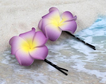 Bobby Pins, 2pcs, 1 1/4 inch Flowers,   Floral Hair Pins,   Plumeria
