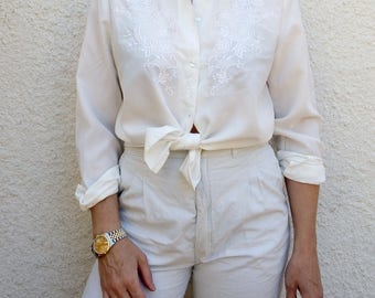 Womens Blouse Vintage Embroidered