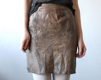 Taupe leather skirt | Etsy