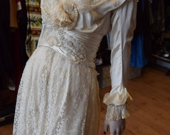 Edwardian silk and lace wedding gown