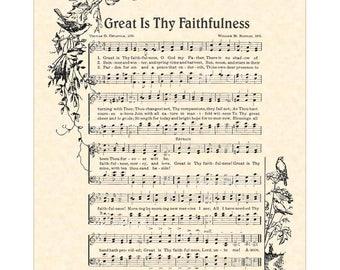 GREAT Is THY FAITHFULNESS - Hymn Art - Christian Home Or Office Decor - Vintage Verses Sheet Music Wall Art - Inspirational Wall Art - Sale