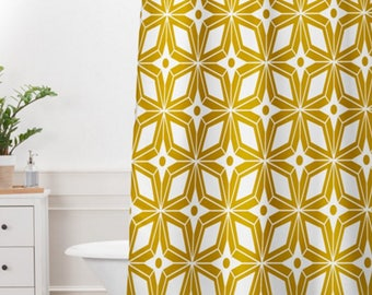Midcentury Modern Shower Curtain // Bathroom // Starburst Gold Design // Geometric // Shower // Bathroom Decor // Yellow // Home Decor