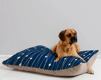 Navy Geometric Dog Bed // Dog Pillow // Pet Bedding // Modern Pet Bedding // Animal Pillow // Pet Mat // Entangled Design // Navy // Blue
