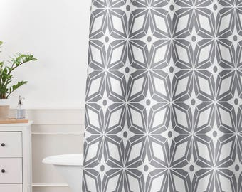 Shower Curtain // Gray Geometric // Bathroom // Midcentury Modern // Shower // Bathroom Decor // Home Decor // Starburst Grey Design // Gray