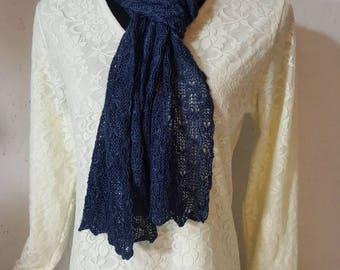 Suri Alpaca Scarf, Lace Knit Scarf, Handmade Suri Alpaca Scarf, Home Grown Alpaca, Hand Dyed Steel Blue