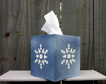 Snowflake Tissue Cover, Blue, White Snowflakes, Tissue Box Cover, Holiday Decor, Sparkly, Painted, Boutique Size, Home Decor, Hand Painted