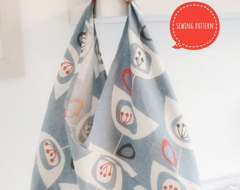 Boho Origami Tote Bag sewing pattern by Lillyblossom. Perfect for shopping or holidays. Easy to follow instructions.