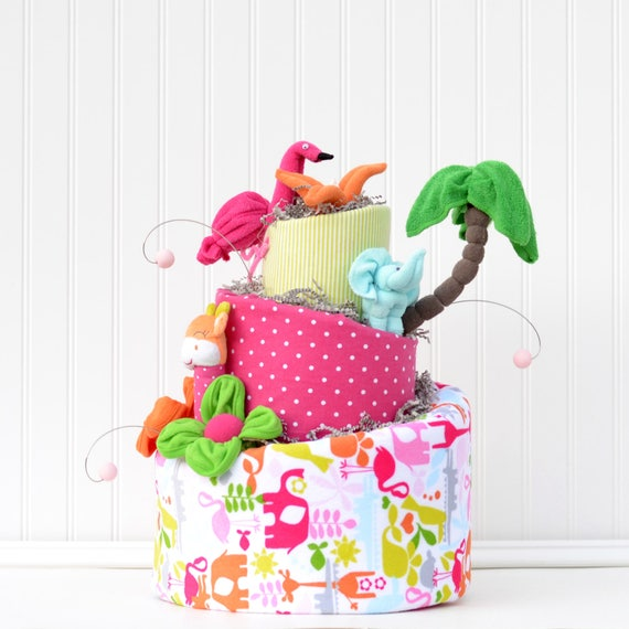Safari Baby Shower Decorations, Flamingo Baby Shower, Let's Flamingle Shower, Safari Animals Diaper Cake, Baby Shower Gifts, Tropical Shower