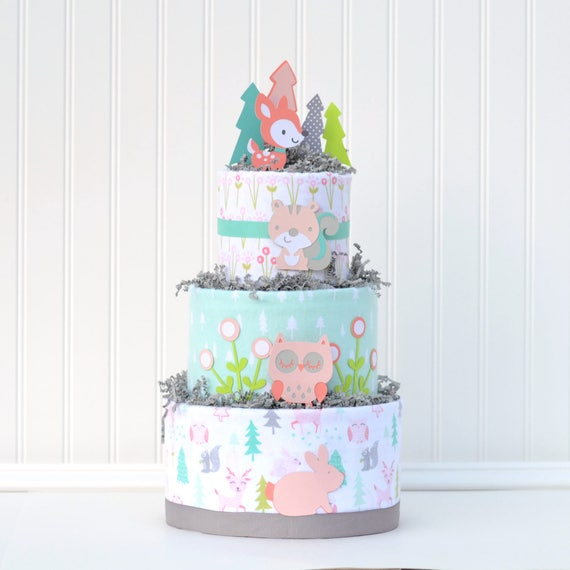 Girl Woodland Shower Gift, Girl Diaper Cake, Deer Baby Shower, Forest  Animals Shower