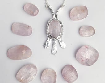 Pink Kunzite and Hammered Sterling Silver Pendant Necklace - Rose Cut Freeform Stone Pendant - Everyday Silver Jewelry - Boho Stone Necklace