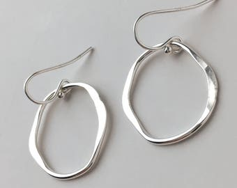 Simple Sterling Silver Organic Shaped Hoop Drop Earrings - Short Nickel Free Silver Dangle Earrings - Hammered Silver Everyday Jewelry