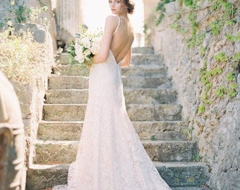 Blush wedding dress etsy blush wedding dress ivory lace mermaid bridal gown couture bridal gown low back junglespirit Gallery
