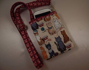 Open Top Pocket Easy Reach Cell Phone Cats Kittens Quilted Lanyard Wallet Organizer Tote
