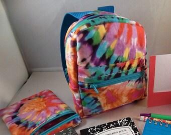 Mini backpack Child Teen School Pretend Play Tie dye Aqua Print Ready to ship Accessories Pencil Bag Set