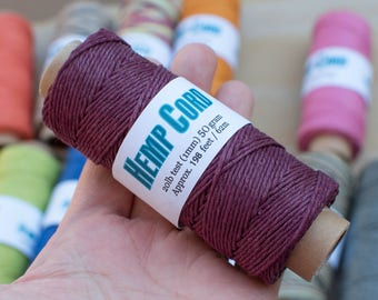 Wine Hemp Twine, 1mm Spool, 198 Feet,  Macrame  Hemp  Cord, Wine -T107